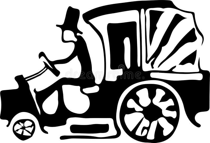 Automobile astratta insolita con un autista che è molto royalty illustrazione gratis