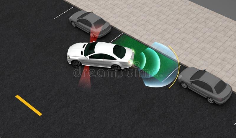 Automobile astuta, automaticamente parchi nel parcheggio con il sistema di parcheggio di aiuto, rappresentazione 3D illustrazione di stock