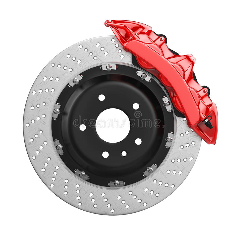 Auto Mobile Brake System : Automobile brake disk with red caliper stock illustration