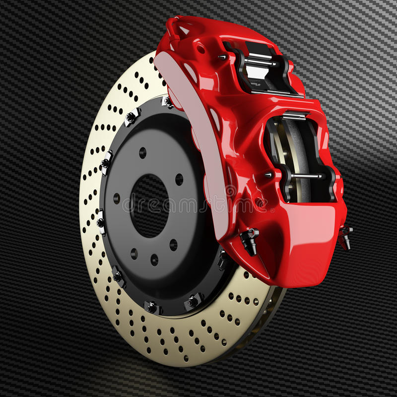 Automobile brake disk and red caliper on carbon background royalty free illustration