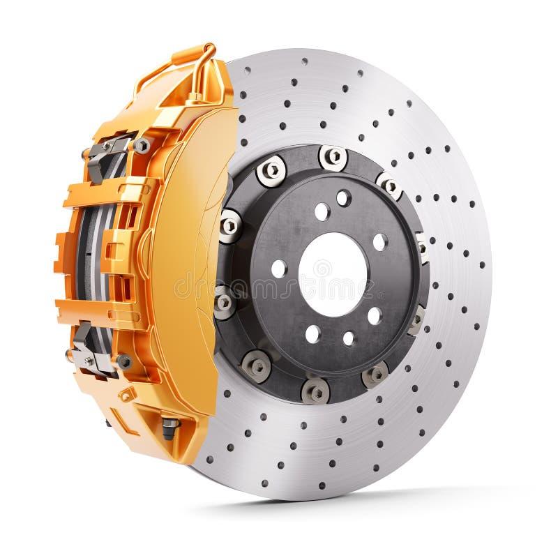 Automobile brakes. Orange caliper and brake disk. 3d render. Automobile brakes. Orange caliper and brake disk. 3d vector illustration