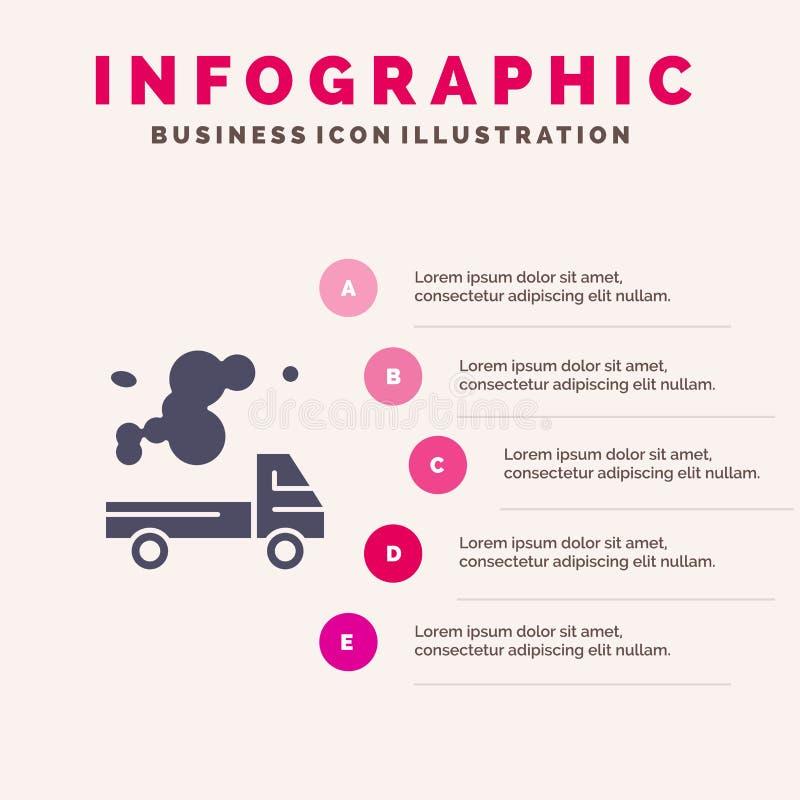 Automobile, camion, émission, gaz, fond solide de présentation d'étapes d'Infographics 5 d'icône de pollution illustration libre de droits
