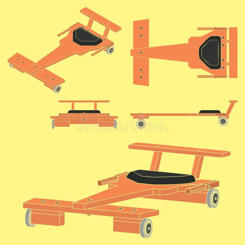 Automobile classica del Soapbox senza profilo e colorata illustrazione vettoriale