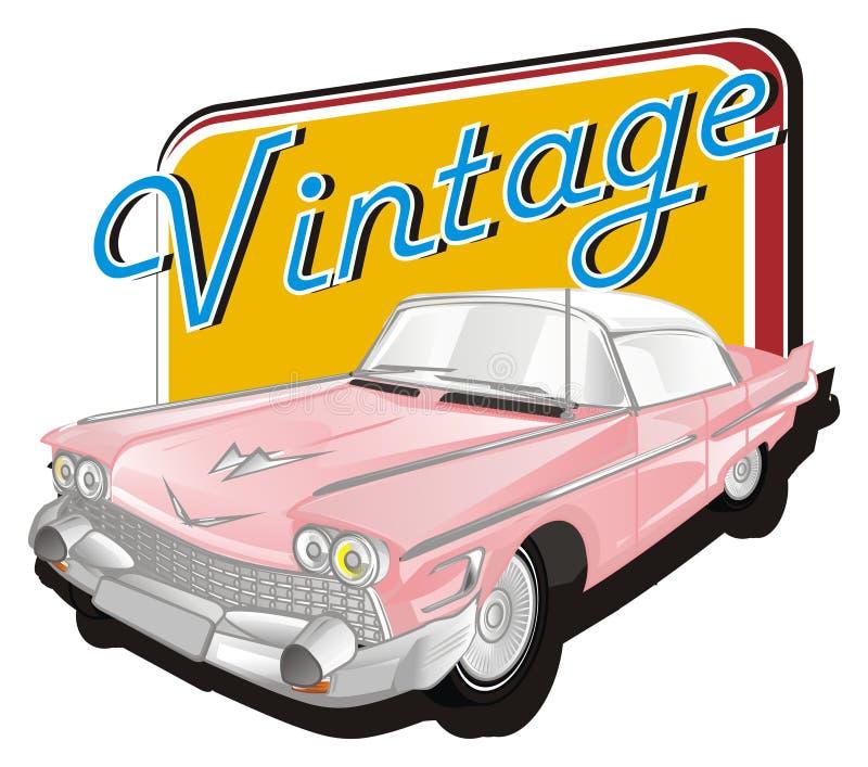 Automobile classica rosa con l'icona e la parola illustrazione di stock