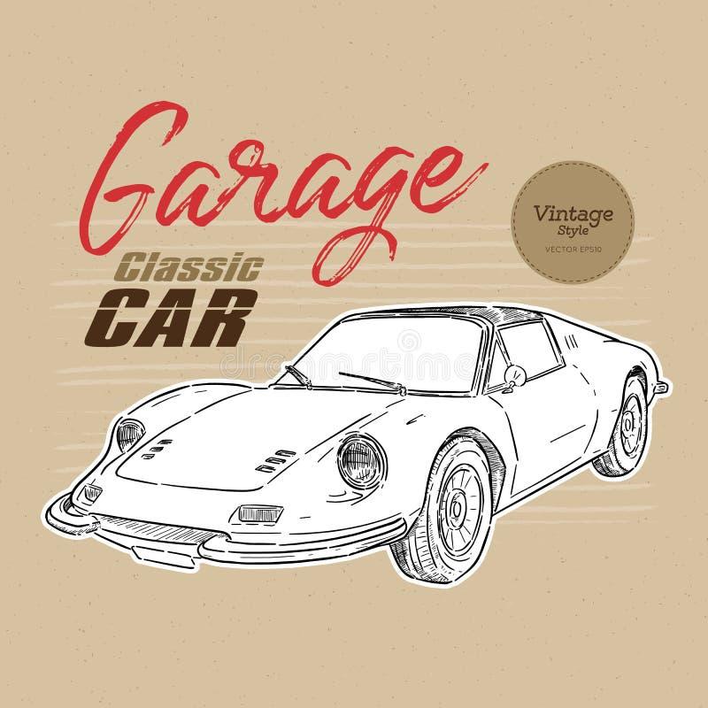 Automobile classica, stile d'annata vettore di schizzo di tiraggio della mano royalty illustrazione gratis