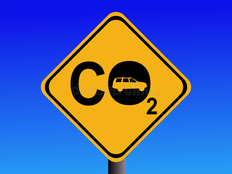 Automobile CO2 emissions. Warning CO2 emissions from automobile sign illustration stock illustration