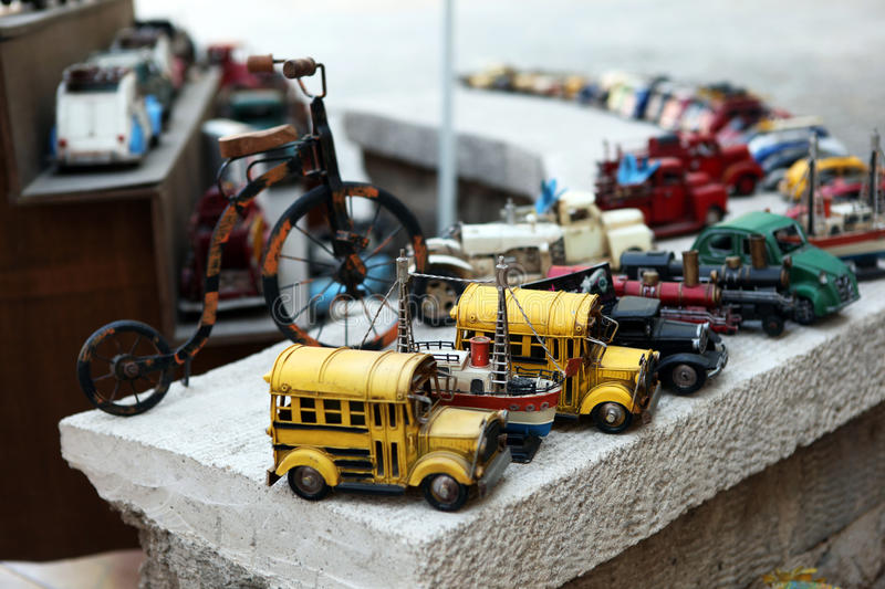 Automobile collections. Placed on a top of a wall stock image