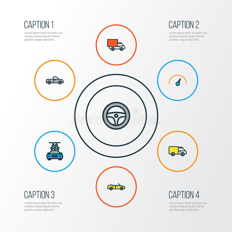 Automobile Colorful Outline Icons Set. Collection Of Speed, Track, Auto And Other Elements. Also Includes Symbols Such stock illustration