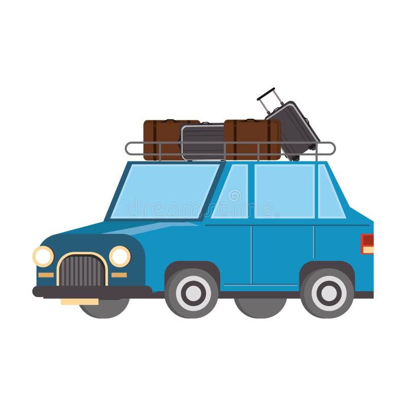 Automobile con bagagli sul veicolo superiore isolato royalty illustrazione gratis