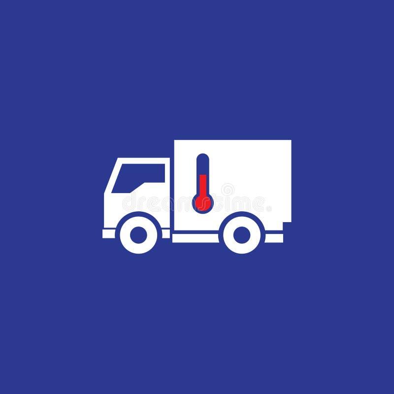 Automobile con l'icona del frigorifero Camion con il termometro su un fondo blu illustrazione vettoriale