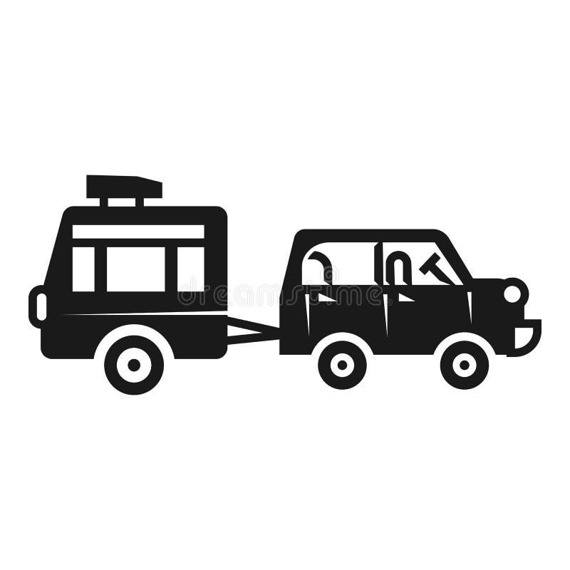 Automobile con la piccola icona del rimorchio, stile semplice illustrazione di stock