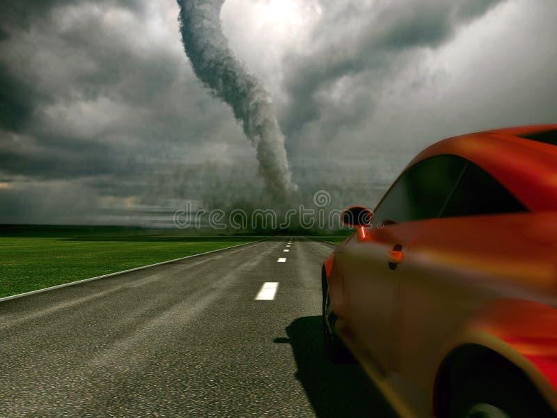 Automobile contro il ciclone fotografia stock
