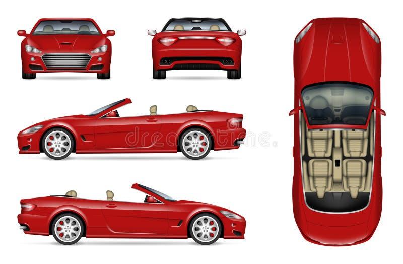 Automobile convertibile realistica illustrazione vettoriale