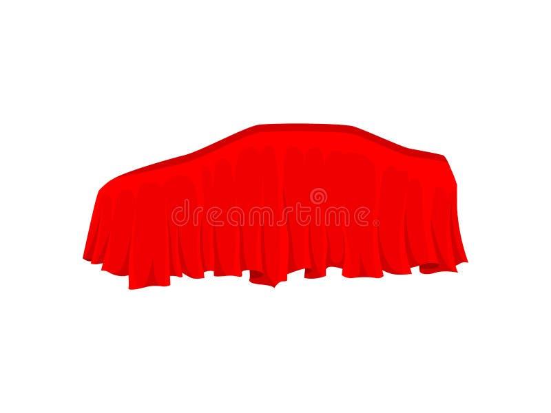 Automobile coperta di panno di seta rosso luminoso Presentazione dell'automobile Materia tessile Progettazione piana di vettore illustrazione vettoriale