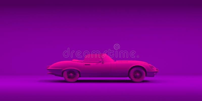 Automobile d'annata del giocattolo sul fondo di colore Manifesto al neon di progettazione di minimalismo Automobile locativa per  immagine stock