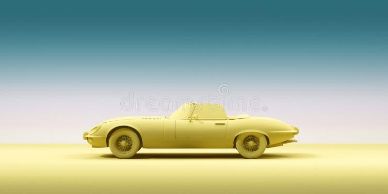 Automobile d'annata del giocattolo sul fondo di colore Manifesto di progettazione di minimalismo Automobile locativa per il viagg illustrazione di stock