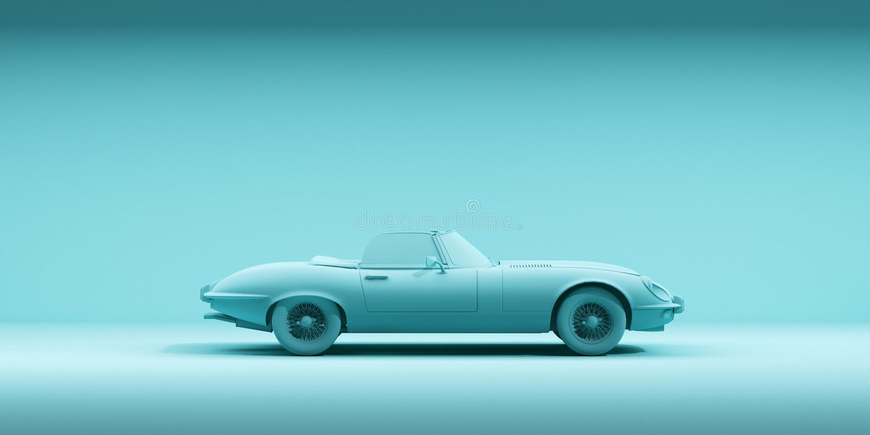 Automobile d'annata del giocattolo sul fondo di colore Manifesto di progettazione di minimalismo Automobile locativa per il viagg royalty illustrazione gratis