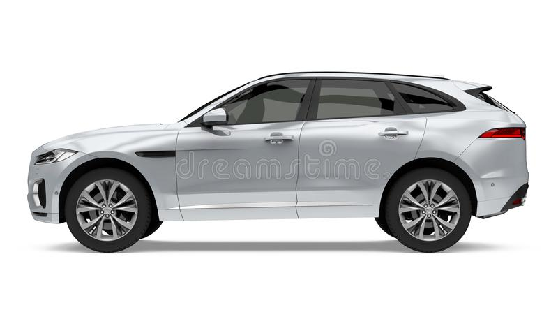 Automobile d'argento di SUV isolata illustrazione di stock