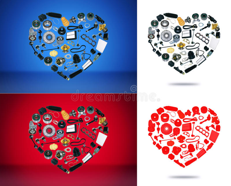 Automobile dei pezzi di ricambio del cuore sui precedenti illustrazione vettoriale