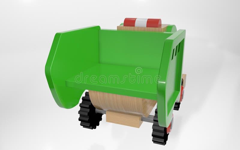 automobile dei rifiuti del giocattolo dei bambini della rappresentazione 3d grande illustrazione vettoriale
