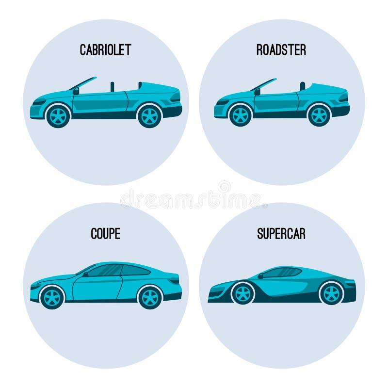 Automobile del cabriolet, ragno dell'automobile scoperta a due posti, automobile twodoor del coupé e vettore del supercar royalty illustrazione gratis