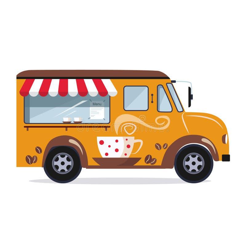 Automobile del caffè su un fondo bianco royalty illustrazione gratis