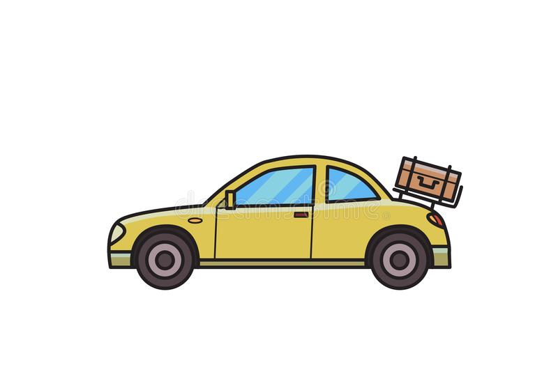 Automobile del coupé con bagagli sul cofano posteriore hatchback Immagine isolata su fondo bianco Illustrazione di FVector Stile  illustrazione di stock