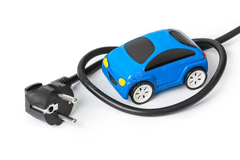 Automobile del giocattolo e della spina elettrica immagine stock libera da diritti