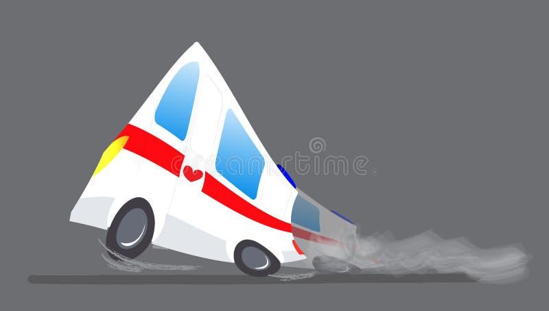 Automobile dell'ambulanza dell'illustrazione di vettore Emergenza automatica del paramedico dell'ambulanza Evacuazione medica del fotografia stock libera da diritti