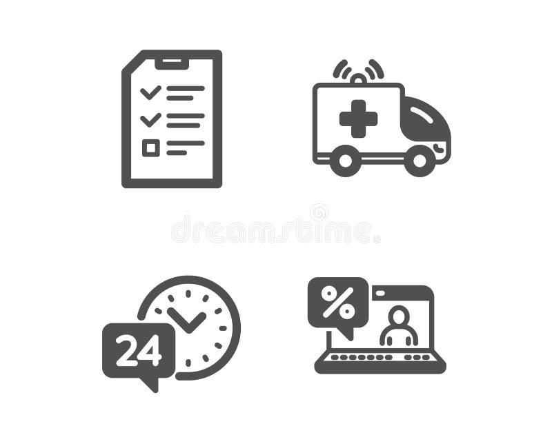 Automobile dell'ambulanza, intervista ed icone di servizio 24h Segno online di prestito Vettore illustrazione vettoriale