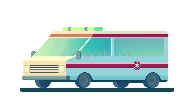 Automobile dell'ambulanza isolata su bianco La macchina per la fornitura dell'assistenza medica di prima emergenza necessaria Vet illustrazione vettoriale