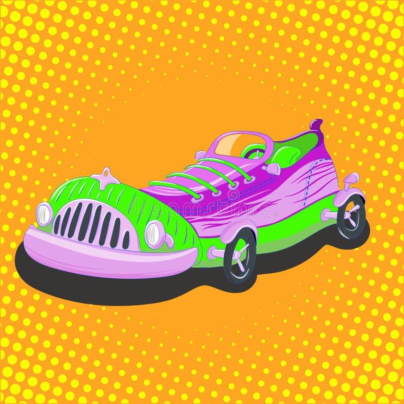 Automobile della scarpa da tennis del fumetto immagini stock libere da diritti