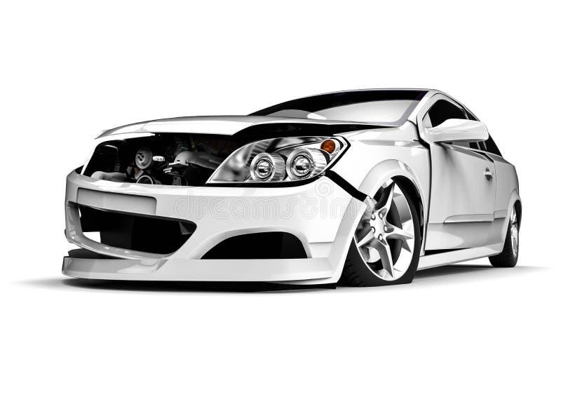 Automobile demolita bianca in un incidente illustrazione di stock