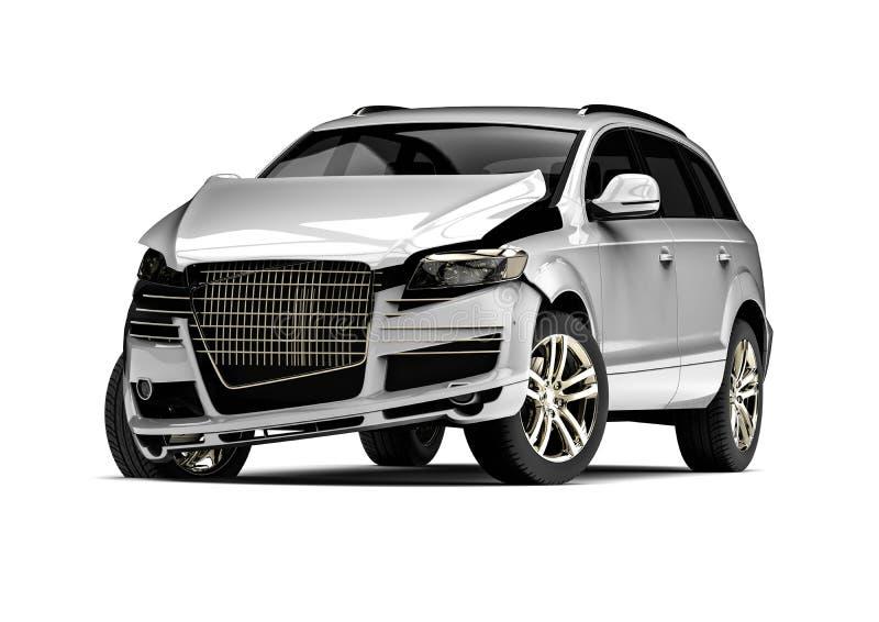 Automobile demolita bianca in un incidente illustrazione vettoriale