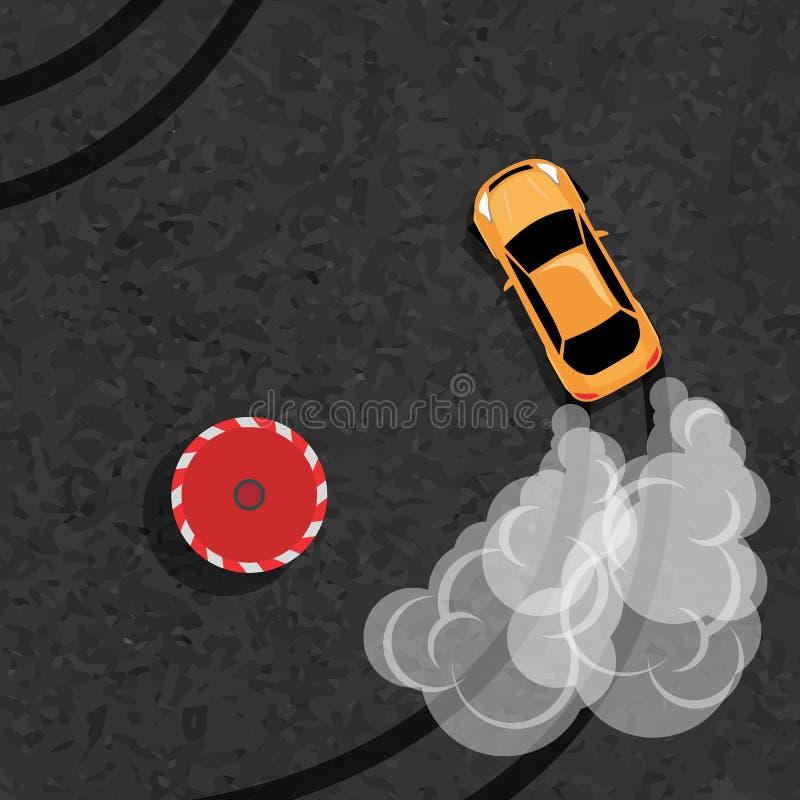 Automobile di burnout, automobile sportiva giapponese della deriva, via che corre, gruppo di corsa, sovralimentazione, di sintoni illustrazione di stock