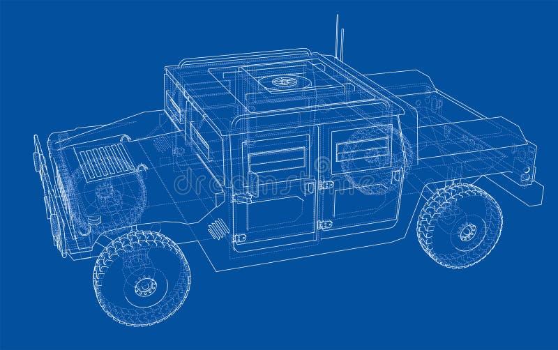 Automobile di combattimento Rappresentazione di vettore di 3d royalty illustrazione gratis