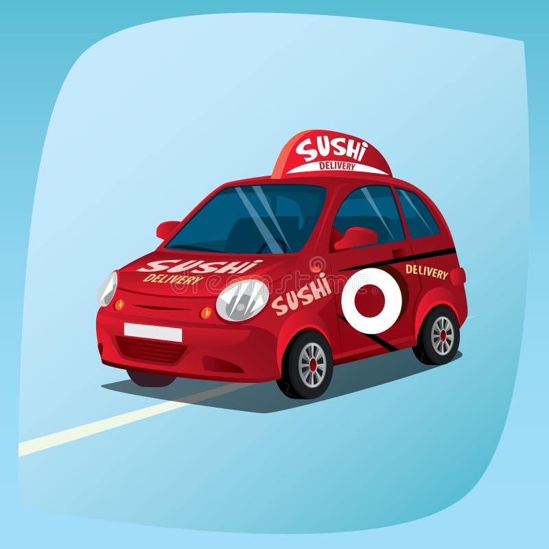 Automobile di consegna isolata dei sushi illustrazione di stock