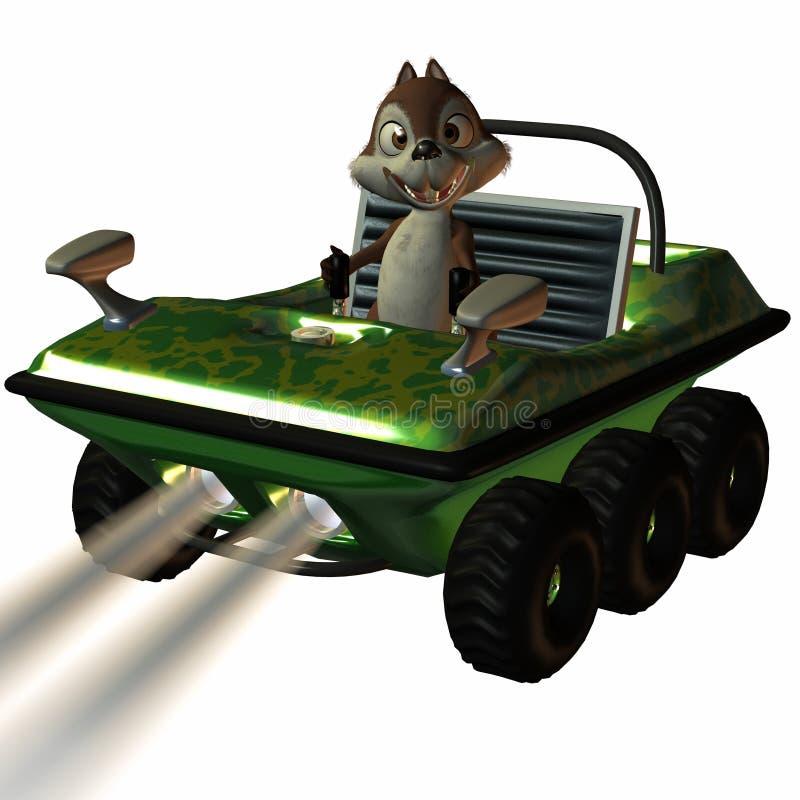 Automobile di divertimento con lo scoiattolo di Toon illustrazione vettoriale