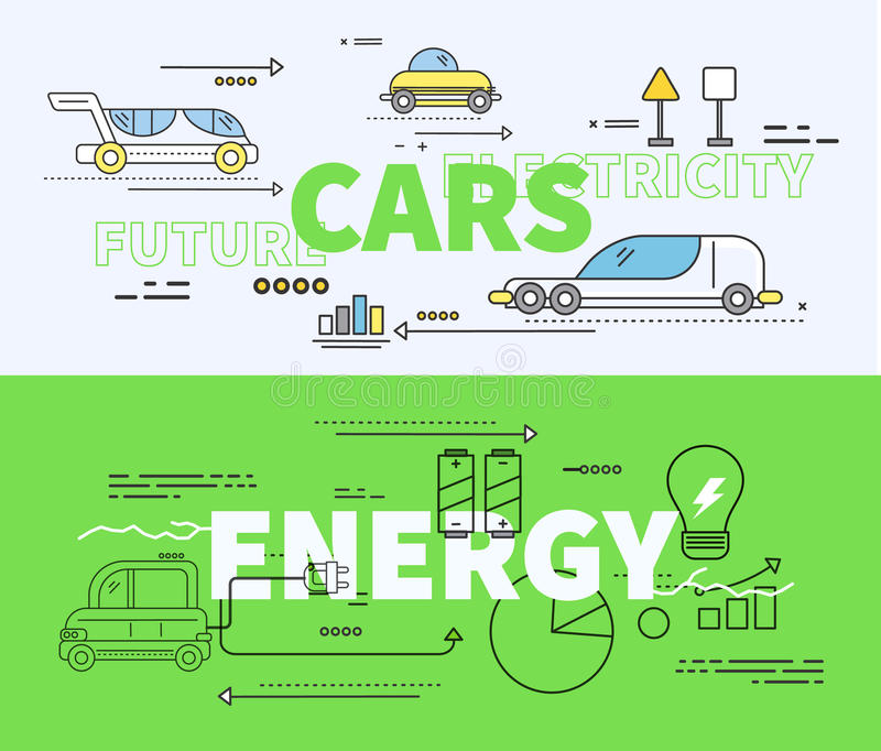 Automobile di elettricità futura di energia illustrazione vettoriale