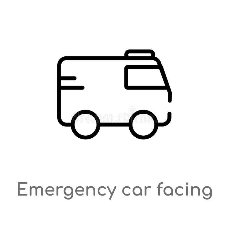 automobile di emergenza del profilo che affronta la giusta icona di vettore linea semplice nera isolata illustrazione dell'elemen illustrazione di stock