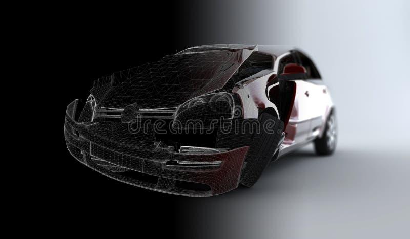 Automobile di incidente di Wireframe illustrazione di stock