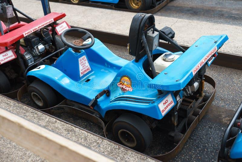 Automobile di Karting, Plymouth, Devon, Regno Unito, il 20 agosto 2018 fotografie stock
