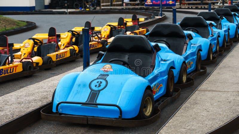 Automobile di Karting, Plymouth, Devon, Regno Unito, il 20 agosto 2018 immagini stock libere da diritti
