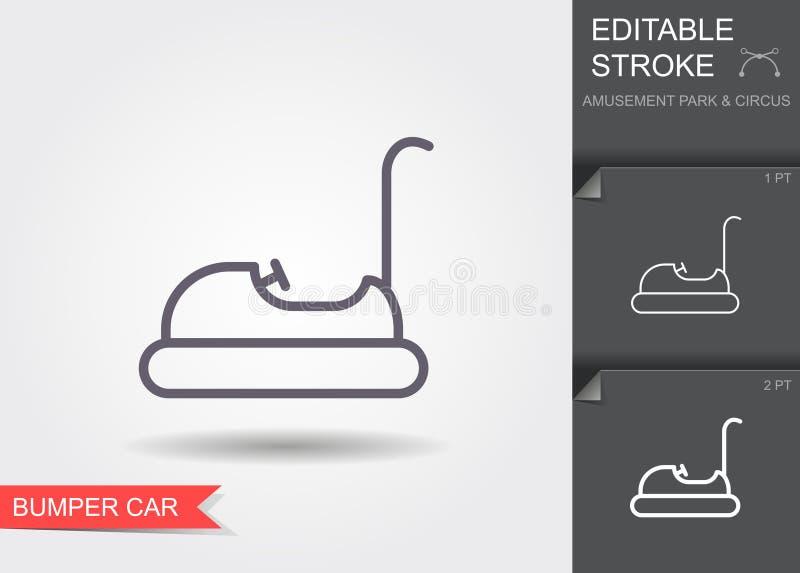 Automobile di paraurti Linea icona con il colpo editabile con ombra illustrazione vettoriale