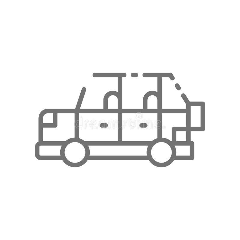 Automobile di safari, automobile fuori strada, linea icona di SUV royalty illustrazione gratis