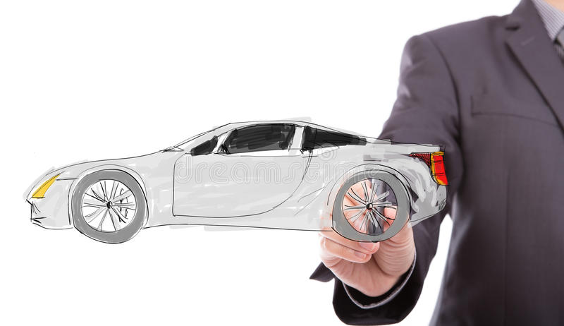 Automobile di tiraggio della mano di affari nuova fotografia stock libera da diritti