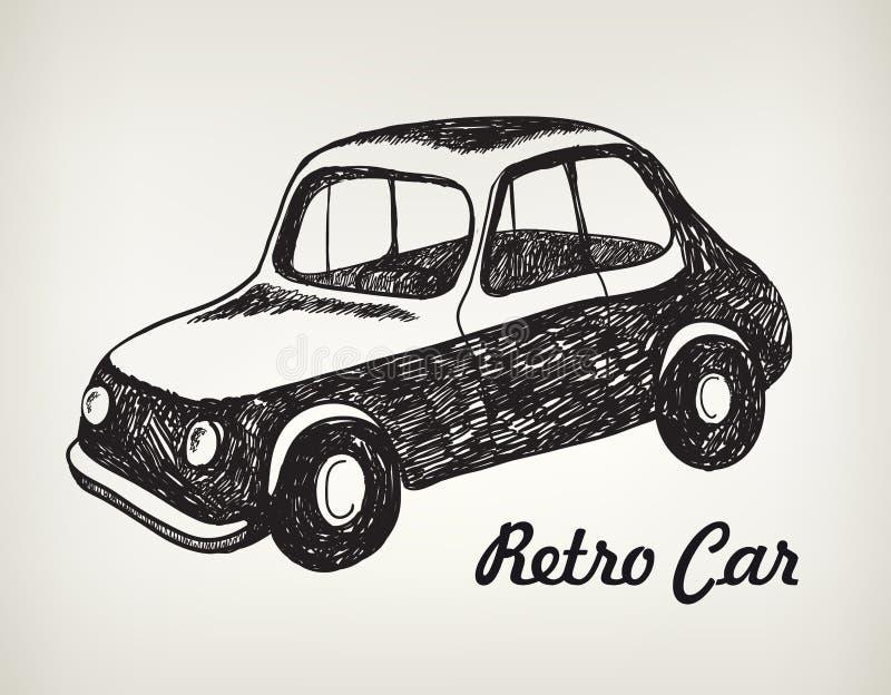 Automobile disegnata a mano in bianco e nero di scarabocchio di vettore retro royalty illustrazione gratis