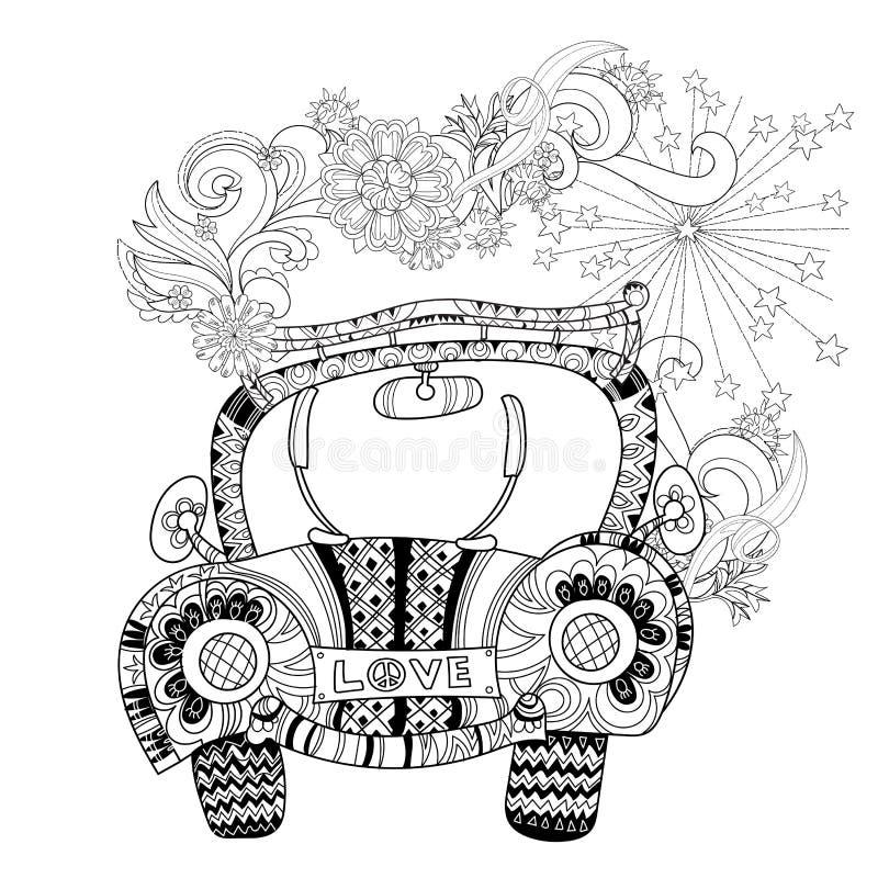 Automobile disegnata a mano di festa del profilo di scarabocchio illustrazione di stock