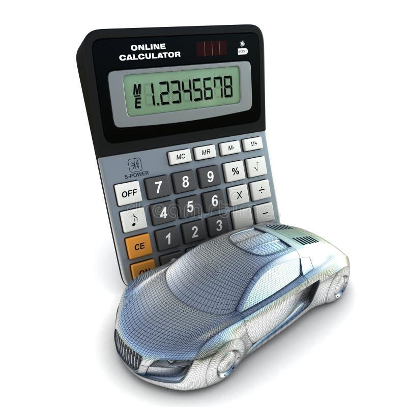 Automobile e calcolatore illustrazione di stock