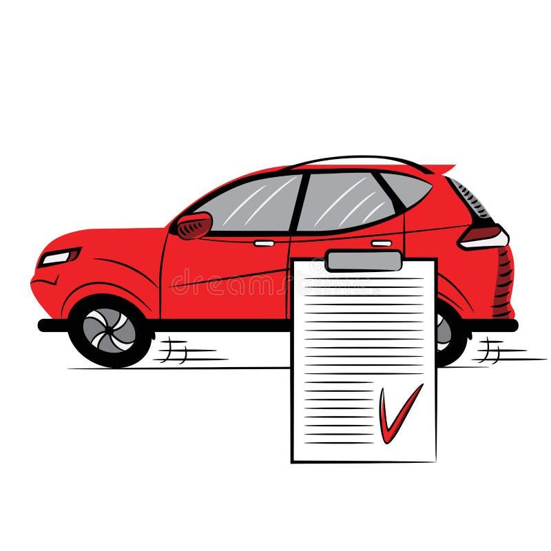 Automobile e spazio in bianco rossi con un segno di spunta rosso Icona stile schizzo Simbolo segno Illustrazione di riserva di ve royalty illustrazione gratis